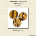 Cabochon, 18mm Round:Brown Tiger Eye [ea]