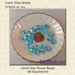 Star Flower Beads, 10mm:Aquamarine, AB [25]