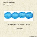Fire Polished 3mm Faceted Round Beads:Aquamarine [50]