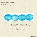 Fire Polished 4mm Faceted Round Beads:AB Aquamarine [50]