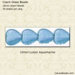 Heart Beads 10mm:Aquamarine, Luster [25]