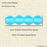 Czech Glass 4mm Round Druk Beads:Matte Aquamarine [100]