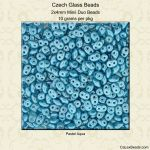 Czech Glass 2x4mm Mini Super Duo Beads:Pastel Aqua [10g]