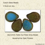 Table Cut 12x16mm Polished Drops:Opal Aquamarine Picasso [ea]