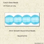Druk Bead 3mm Aquamarine [100]