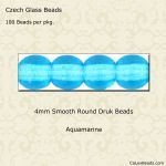 Czech Glass 4mm Round Druk Beads:Aquamarine [100]