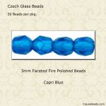 Fire Polished 3mm Faceted Round Beads:Capri Blue [50]