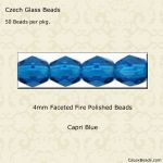 Fire Polished 4mm Faceted Round Beads:Capri Blue [50]