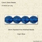 Fire Polished 8mm Faceted Round Beads:Capri Blue [25]