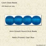 Czech Glass 4mm Round Druk Beads:Matte Capri Blue [100]