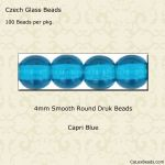 Czech Glass 4mm Round Druk Beads:Capri Blue [100]