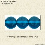 Druk Beads, 8mm:Capri Blue Transparent [25]