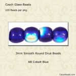 Druk Bead 3mm Cobalt AB [100]