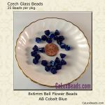 Bell Flower Bead 8x6mm Cobalt, AB [25]