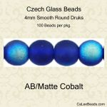 Czech Glass 4mm Round Druk Beads:AB/Matte Cobalt [100]