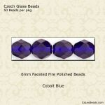 Fire Polished 6mm Faceted Round Beads:Cobalt [50]