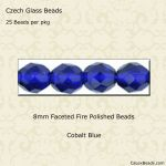 Fire Polished 8mm Faceted Round Beads:Cobalt Blue [25]