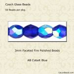 Fire Polished Beads 3mm Cobalt, AB [50]
