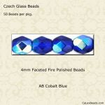 Fire Polished Beads, 4mm:Cobalt, AB [50]