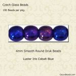 Czech Glass 4mm Round Druk Beads:Luster Iris Cobalt [100]