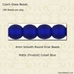 Czech Glass 4mm Round Druk Beads:Matte Cobalt Blue [100]