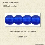 Druk Bead 3mm Cobalt [100]
