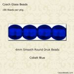 Czech Glass 4mm Round Druk Beads:Cobalt Blue [100]