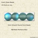 Czech Glass 4mm Round Druk Beads:AB/Matte Montana Blue [100]