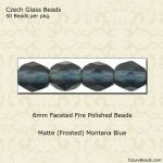 Fire Polished 6mm Faceted Round Beads:Matte Montana Blue [50]