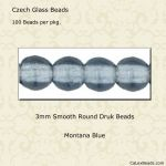 Druk Bead 3mm Montana Blue [100]