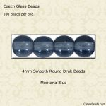 Czech Glass 4mm Round Druk Beads:Montana Blue [100]