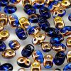 SuperDuo Beads, 2.5x5mm Sapphire Apollo Gold [10g]