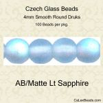 Czech Glass 4mm Round Druk Beads:AB/Matte Light Sapphire [100]