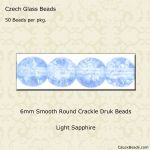 Czech Glass 6mm Round Druk Beads:Crackle Light Sapphire [50]