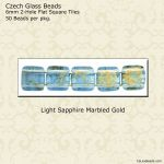 Czech Glass 6mm Two Hole CzechMate Beads:Gold Marbled Light Sapphire [50]