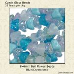 Bell Flower Bead 8x6mm Blue/Crystal, Mix [25]
