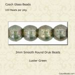 Druk Bead 3mm Green Luster [100]