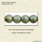 Czech Glass 6mm Round Druk Beads:Luster Green [50]