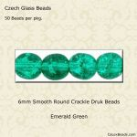 Czech Glass 6mm Round Druk Beads:Crackle Emerald [50]