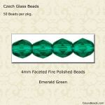 Fire Polished 4mm Faceted Round Beads:Emerald [50]