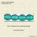 Fire Polished 6mm Faceted Round Beads:Emerald [50]