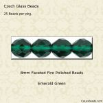 Fire Polished 8mm Faceted Round Beads:Emerald [25]