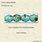 Fire Polished 4mm Faceted Round Beads:Teal Tortoise [50]