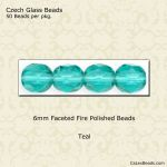 Fire Polished 6mm Faceted Round Beads:Teal [50]
