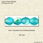 Fire Polished 6mm Faceted Round Beads:AB Teal [50]