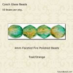 Fire Polished 4mm Faceted Round Beads:Teal/Orange [50]
