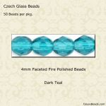 Fire Polished 4mm Faceted Round Beads:Dark Teal [50]