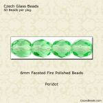 Fire Polished 6mm Faceted Round Beads:Peridot [50]
