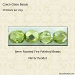 Fire Polished 6mm Faceted Round Beads:Mirror Peridot [50]