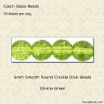 Czech Glass 6mm Round Druk Beads:Crackle Olivine [50]